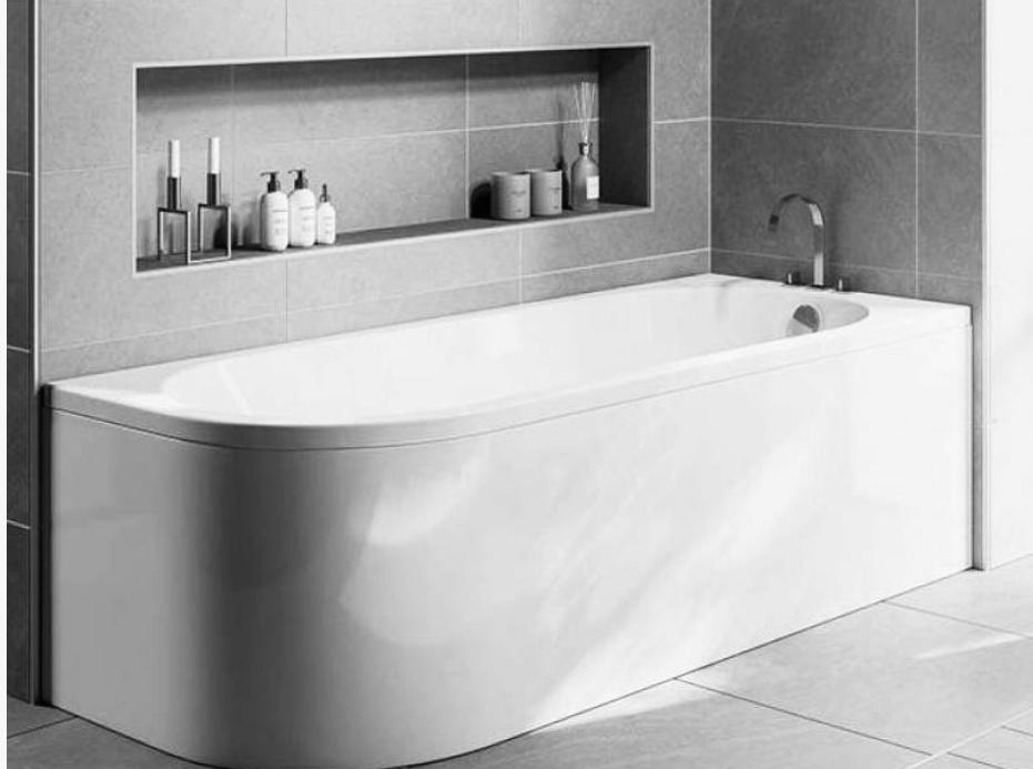 fitted bath with inset shelf